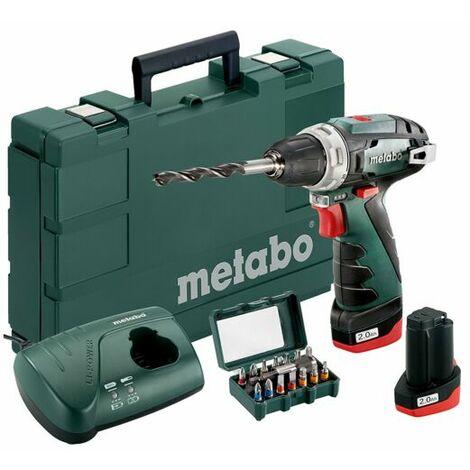 Metabo Perceuse visseuse sans fil PowerMaxx BS Basic Set 2x batterie 10,8 V 2 Ah + Coffret d embouts SP (15 pcs) 600080920