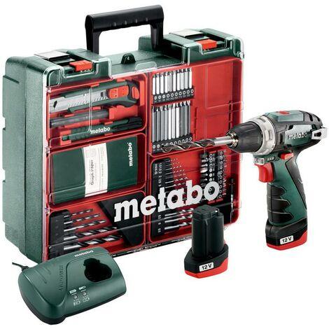 Metabo Perceuse-visseuse sans fil PowerMaxx BS Basic Set, Atelier mobile, Coffret, 10.8V 2x2Ah Li-Ion + LC 40 - 600080880