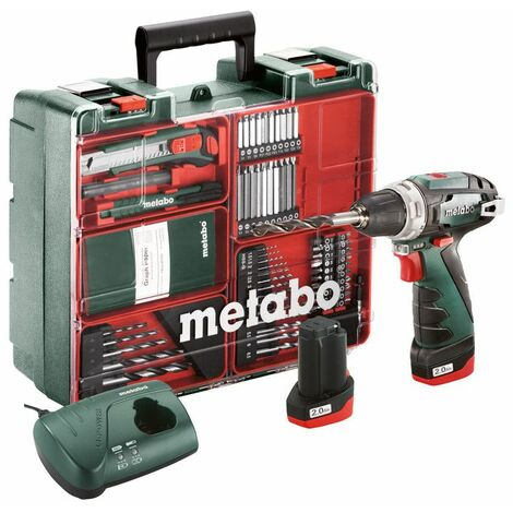 Metabo Perceuse-visseuse sans fil PowerMaxx BS Basic Set, Atelier mobile, Coffret, 10.8V 2x2Ah Li-Ion + LC 40 - 600080880