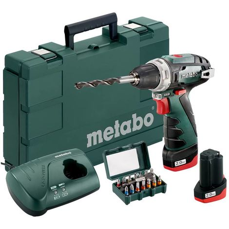 Metabo Perceuse-visseuse sans fil PowerMaxx BS + mandrin auto-serrant + 2 batteries lithium - 15 pièces