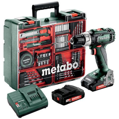 Metabo SB 18 L Mobile Workshop 18V Li-Ion batería Taladro inalámbrico/ Juego de broca (2x baterías 2.0Ah) en estuche - 50 Nm incluido juego de accesorios de 73 piezas