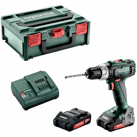 Metabo SB 18 L Perceuse à percussion sans fil, 2x18V/2Ah Li-Ion, Chargeur SC30, Coffret - 602317500