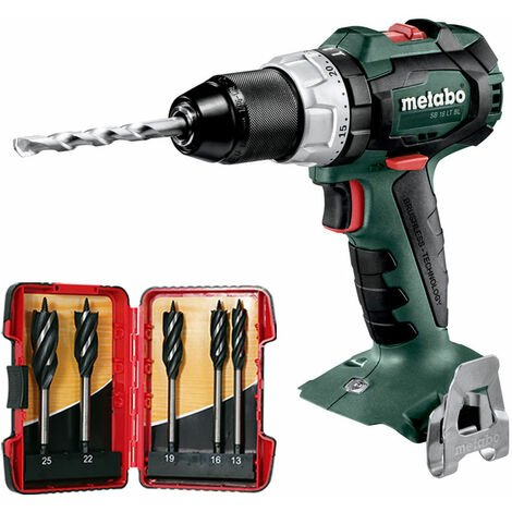 Metabo SB18LTBL 18V Brushless Combi Drill with 5 Piece Auger Drill Bit Set:18V