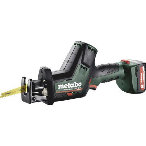 Metabo Scie sabre sans fil PowerMaxx SSE 12 BL, Coffret, 12V 2x2Ah Li-Ion + SC 30 - 602322500