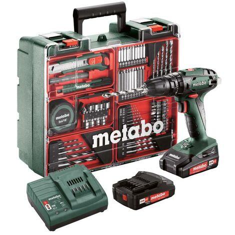 Metabo Set Perceuse à percussion sans fil SB 18 Set, 18V 2x2Ah Li-Ion, Chargeur SC 60 Plus, Coffret, Atelier mobile - 602245880