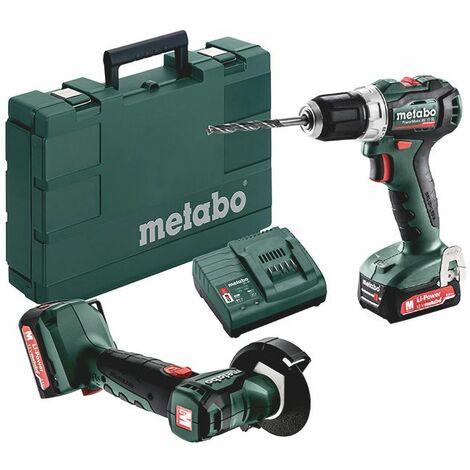Metabo Set PowerMaxx BS 12 BL + PowerMaxx CC 12 BL, 2x Li-Power batteries (12V/2,0 Ah), Chargeur SC 30, Coffret, 5 meules de tronçonnage, Carton - 691150000