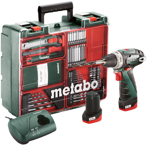 "main image of ""Metabo Trapano-avvitatore a batteria PowerMaxx BS Basic Set, Officina mobile, Valigetta in plastica, 10.8V 2x2Ah Li-Ion + LC 40 - 600080880"""