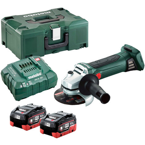 Metabo W 18 LTX 125 18v 125mm Angle Grinder with 2 x 5.5Ah Batteries & Charger In Metaloc Case