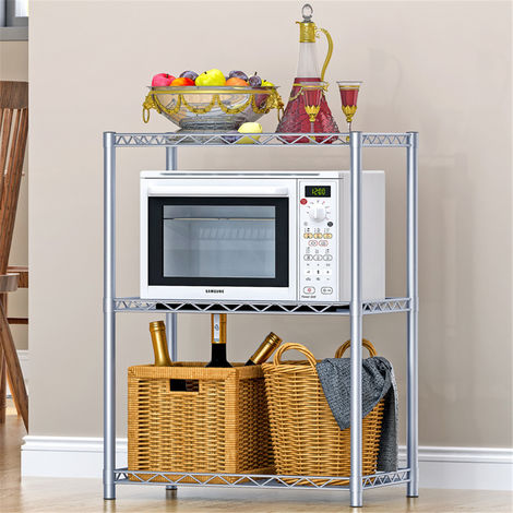 Metal 3 Tier Metal Microwave Shelf Home Bathroom Organizer