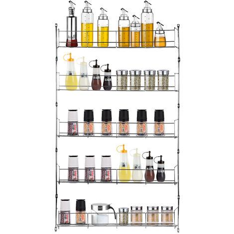 Metal 5 Spice Racks Storage Bottle Kitchen Wall Mount Storage Organizer