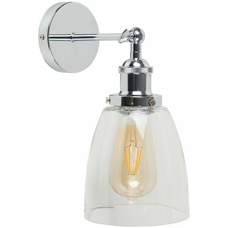 Metal Adjustable Knuckle Joint Wall Light + 4W LED Squirrel Cage Light Bulb - Antique Brass & Black
