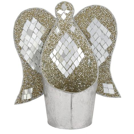 Metal And Mosaic Angel Tealight Holder (Set of 2) - Big Living