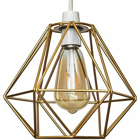 Metal Basket Cage Ceiling Pendant Light Shade & 4W Filament LED Bulb - White