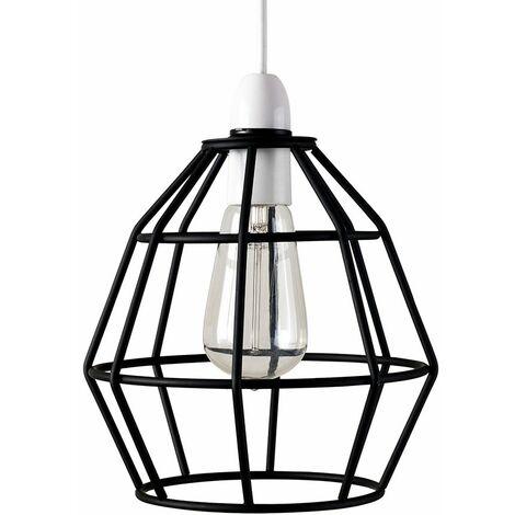 Metal Basket Cage Pendant Ceiling Light Shade - Black - Black
