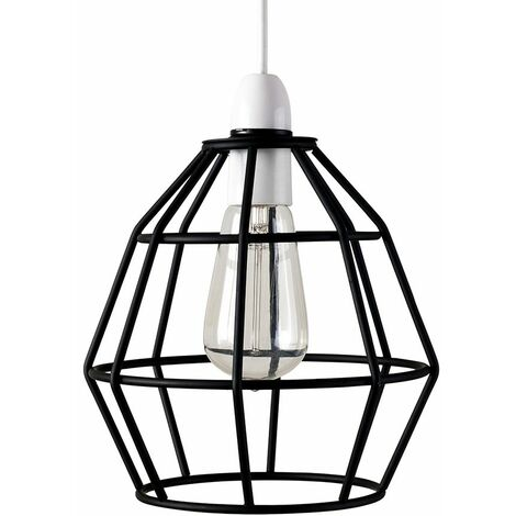 Metal Basket Cage Pendant Ceiling Light Shade - Chrome