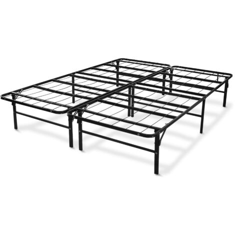 Metal Bed Base, Folding Bed Frame, Queen size, 200 x 148 x 36 cm (78.7 x 58.3 x 14.2 inch), Material: Stainless steel