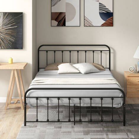 Metal Bed, Double Bed Frame Modern 4ft6 Platform Mattress Foundation, European Style with Headboard & Footboard, Black