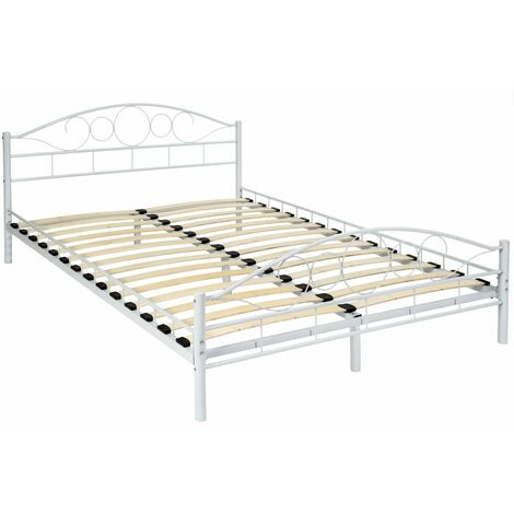 Metal Bed Frame 'Art' with slatted base - double bed, double bed frame, bed frame - white, 200 x 140 cm