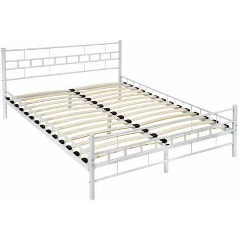 Metal bed frame with slatted base - double bed, double bed frame, bed frame - white, 200 x 140 cm