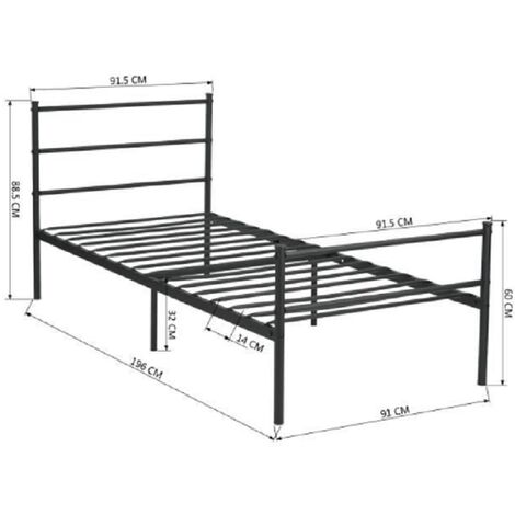 Metal bed metal bed frame with slatted base guest bed single bed bed frame youth bed bed in black, 90 * 200 * 89cm