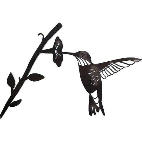 Metal bird steel silhouette, steel branch bird decoration, metal figure art, tree art decor, for outdoor garden patio decorations (A)