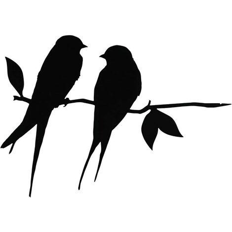 Metal bird steel silhouette, steel branch bird decoration, metal figure art, tree art decor, for outdoor garden patio decorations (B)
