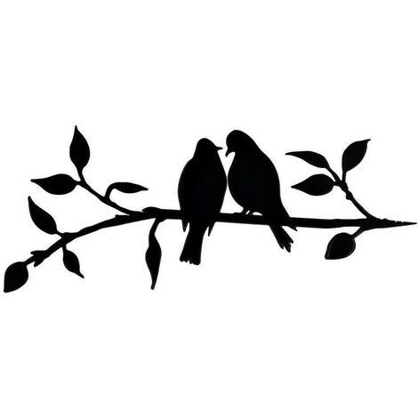 Metal bird steel silhouette, steel branch bird decoration, metal figure art, tree art decor, for outdoor garden patio decorations (C)