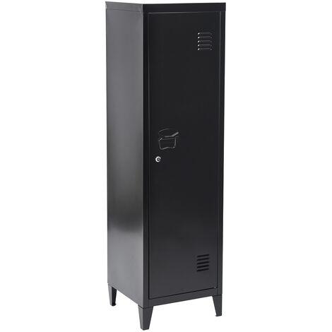 Metal cabinet for office filing cabinet or storage cabinet (127 cm), black color
