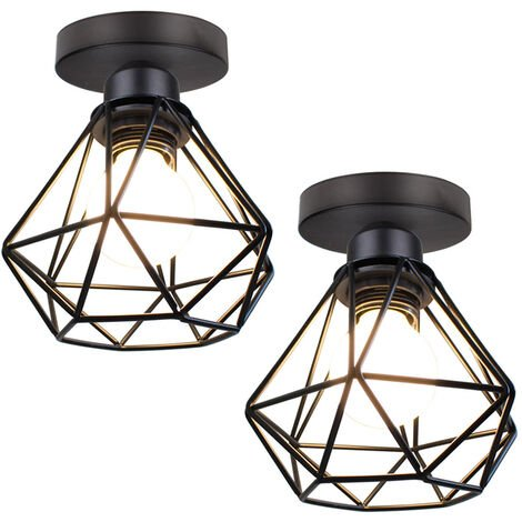 """main image of """"Metal Cage Ceiling Light Retro Industrial Chandelier Black Creative Ceiling Lamp for Indoor Bar Club 2PCS"""""""