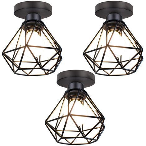 """main image of """"Metal Cage Ceiling Light Retro Industrial Chandelier Black Creative Ceiling Lamp for Indoor Bar Club 3PCS"""""""