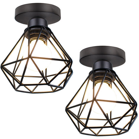 Metal Cage Ceiling Light Retro Industrial Chandelier Black Creative Pendant Light for Indoor Bar Club 2pcs