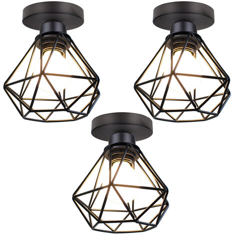 Metal Cage Ceiling Light Retro Industrial Chandelier Black Creative Pendant Light for Indoor Bar Club 3pcs