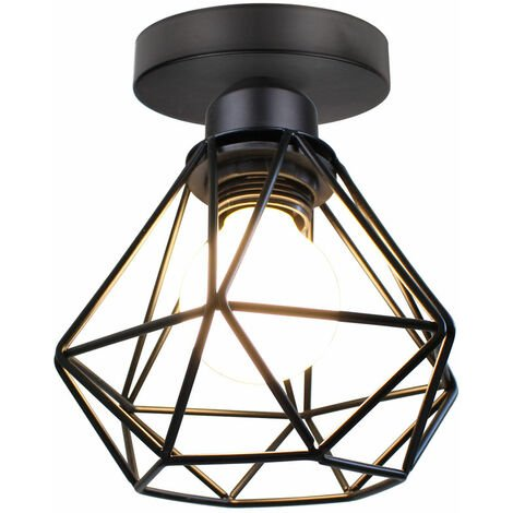 """main image of """"Metal Cage Ceiling Light Retro Industrial Chandelier Creative Ceiling Lamp for Indoor Bar Club Black"""""""