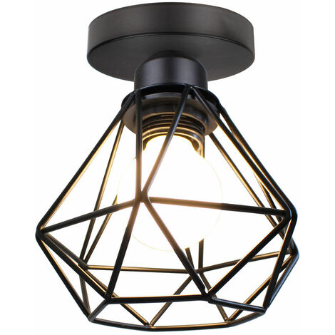 Metal Cage Ceiling Light Retro Industrial Chandelier Creative Pendant Light for Indoor Bar Club Black