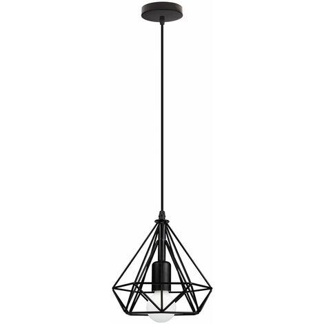 Metal Cage Chandelier Diamond Shape Hanging Light 20cm Retro Industrial Style Pendant Light Vintage Antique Ceiling Light Black