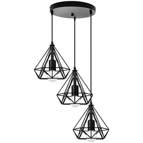 Metal Cage Chandelier Diamond Shape Hanging Light 3 Lights Pendant Lamp 20cm Retro Industrial Pendant Light Vintage Antique Ceiling Light Black