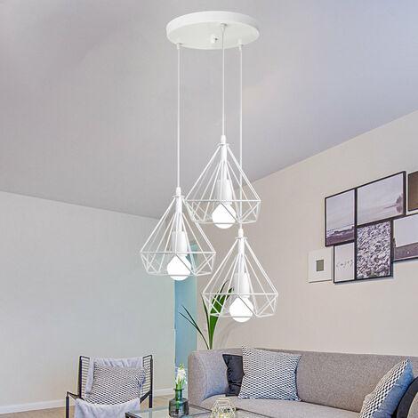 Metal Cage Chandelier Diamond Shape Hanging Light 3 Lights Pendant Lamp 20cm Retro Industrial Pendant Light Vintage Antique Ceiling Light White