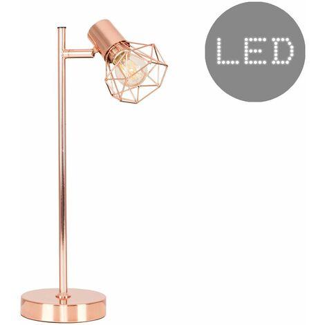 Metal Cage Desk Lamp Copper Finish - 4w LED Filament Bulb Warm White