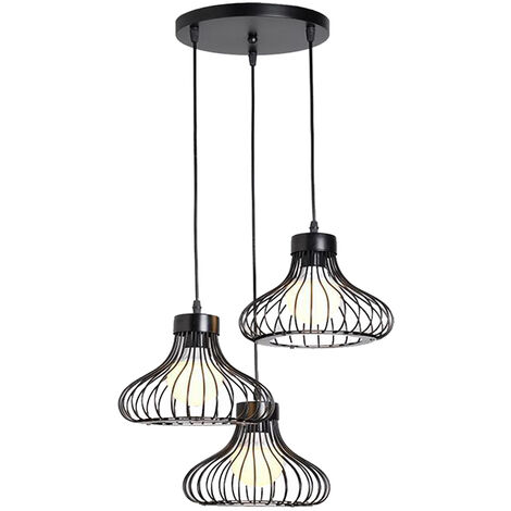 Metal Cage Pendant Light Antique Ceiling Light Black 3 Heads Vintage Chandelier Retro Industrial Hanging Light