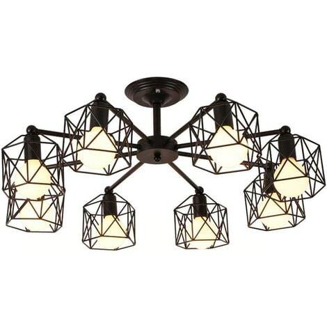 Metal Cage Pendant Light Hexagon Geometry Chandelier Creative Retro Ceiling Lamp for Living Room Bedroom Black(8 Heads)