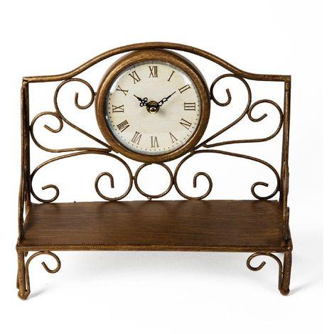 Metal Case Mantel Clock - Garden Bench