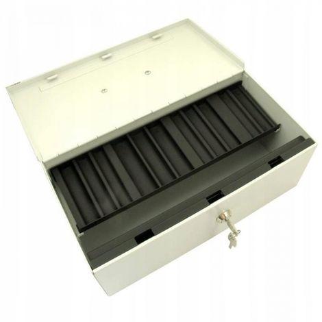 Metal cash box with key and medium safe