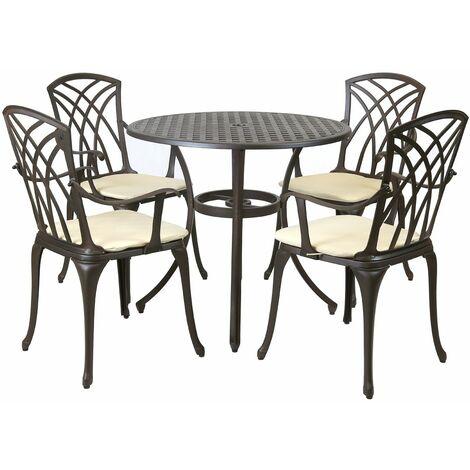 Metal Cast Aluminium 5 Piece Garden Furniture Patio Set With Cushions - Black