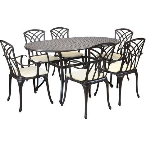 Metal Cast Aluminium 7 Piece Garden Furniture Table Patio Set With Cushions - Bronze, Cream