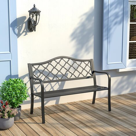 """main image of """"Metal Cast Iron Garden Bench 2 Seater Porch Patio Park Chair Seat Outdoor Relax"""""""