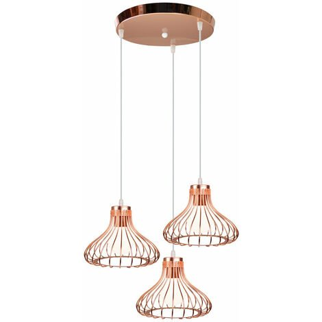 Metal Ceiling Light 3 Lights Cage Shape Vintage Pendant Light Creative Cable Adjustable Industrial Pendant Lamp for Loft Cafe Living Room Dining Room Bar Balcony Rose Gold E27