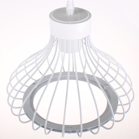 Metal Ceiling Light 3 Lights Cage Shape Vintage Pendant Light Creative Cable Adjustable Industrial Pendant Lamp for Loft Cafe Living Room Dining Room Bar Balcony White E27