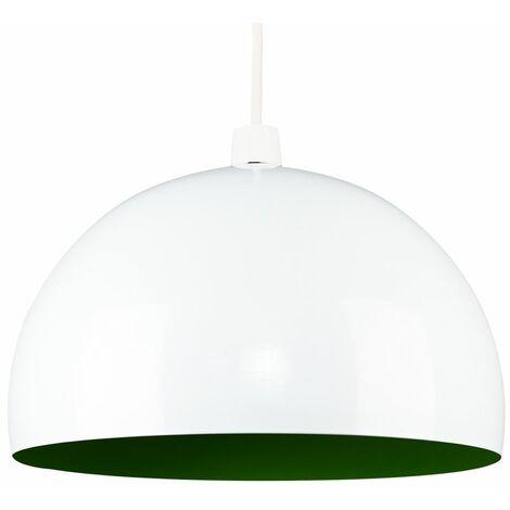 Metal Ceiling Pendant Light Shade - White & Green - White