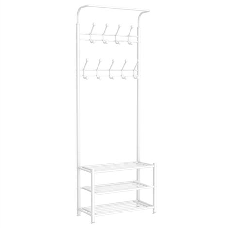 Metal Clothes Coat Rack Stand Multi Function Entryway Organiser with 18 Hanging Hooks Shelf Storage, Heavy Duty Hat Clothes Stand, 187cm White