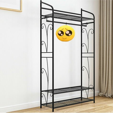 Metal Clothes Rail Storage Garment Shelf Clothing Hanging Heavy Duty Shoe Rack